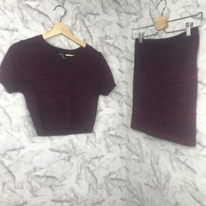 F21 Knit Crop Top and Pencil Skirt